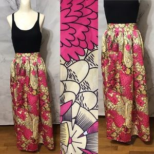 Vintage Asian Inspired Floral Swan Maxi Skirt